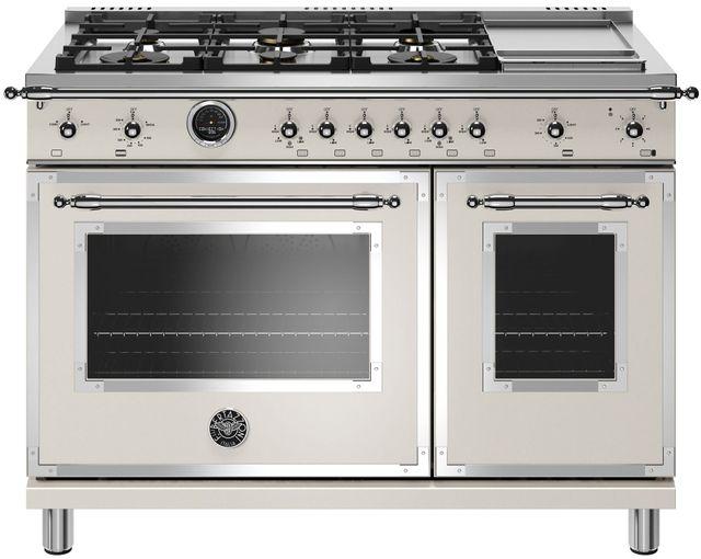 Cuisinière biénergie style Pro Bertazzoni® de 7,0 pi³ de 48 po - Ivoire-HERT486GDFSAVT