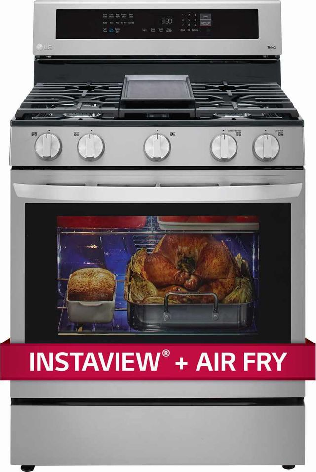 """LG 30"""" PrintProof™ Stainless Steel Free Standing Gas Convection Smart Range with Air Fry-LRGL5825F"""