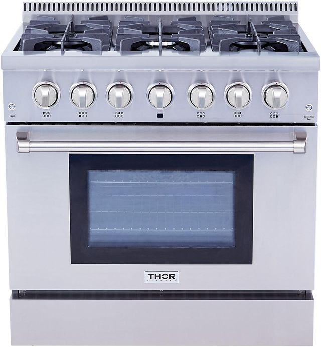 """Thor Kitchen® 36"""" Stainless Steel Pro Style Dual Fuel Range-HRD3606U"""