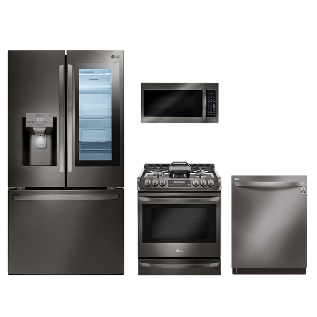 lg 4 piece kitchen package-black stainless steel
