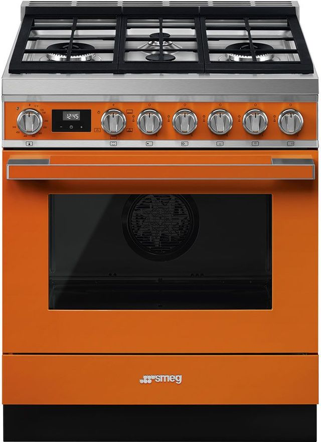 """Smeg Portofino Aesthetic 30"""" Orange Pro Style Natural Gas Range-CPF30UGGOR"""