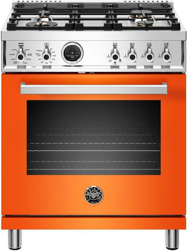 "Bertazzoni Professional Series 30"" Orange Pro Style Duel Fuel Range-PROF304DFSART"