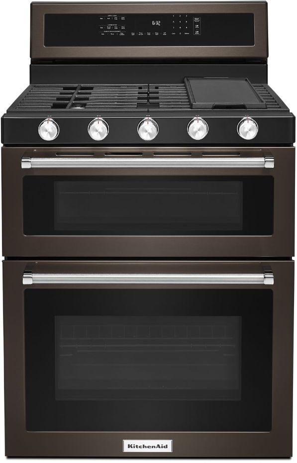 """KitchenAid® 30"""" Black Stainless Steel with PrintShield™ Finish Free Standing Gas Double Convection Range-KFGD500EBS"""