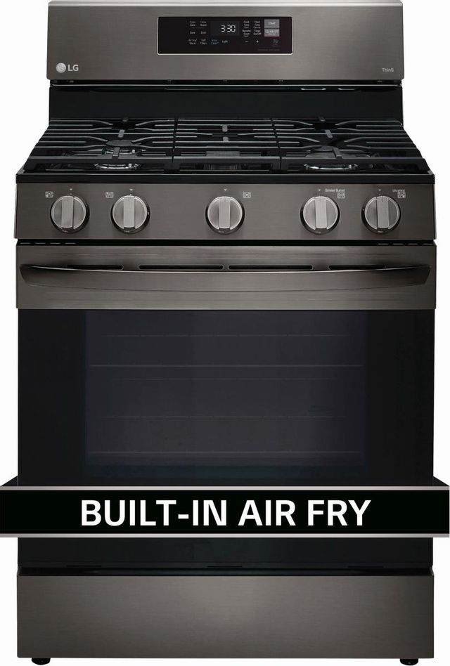"""LG 30"""" PrintProof™ Black Stainless Steel Free Standing Gas Convection Smart Range with Air Fry-LRGL5823D"""