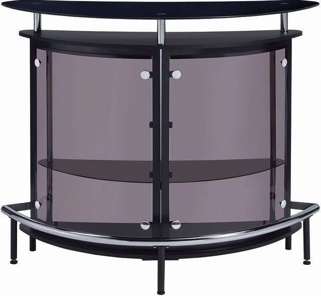 Coaster® CoasterEssence Black And Chrome 2-Tier Bar Unit-101065