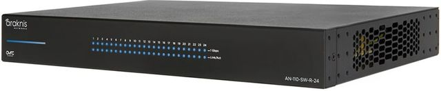 SnapAV Araknis Networks® 110 Series Black 24 Rear Ports Unmanaged+ Gigabit Switch-AN-110-SW-R-24