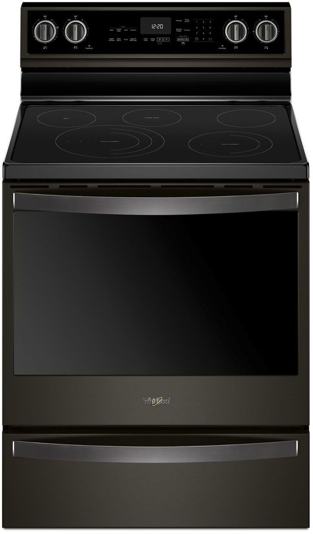 """Whirlpool® 30"""" Freestanding Electric Range-Fingerprint Resistant Black Stainless Steel-WFE975H0HV"""