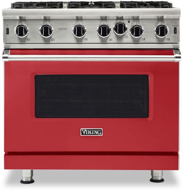 "Viking® 5 Series 36"" San Marzano Red Pro Style Natural Gas Range-VGIC53626BSM"