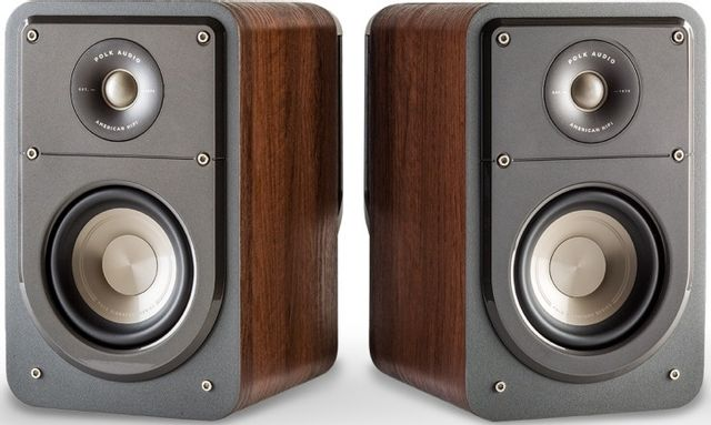 "Polk Audio® Signature Series S15 Classic Brown Walnut 5.25"" Compact Bookshelf Speakers (Pair)-AM9633"