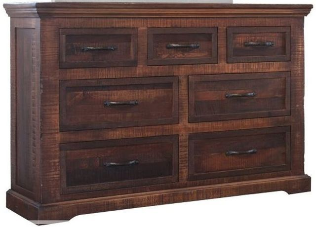 International Furniture© 1200 Madeira Multi-Step Lacquer With Deep Brown Stained Dresser-IFD1200DSR