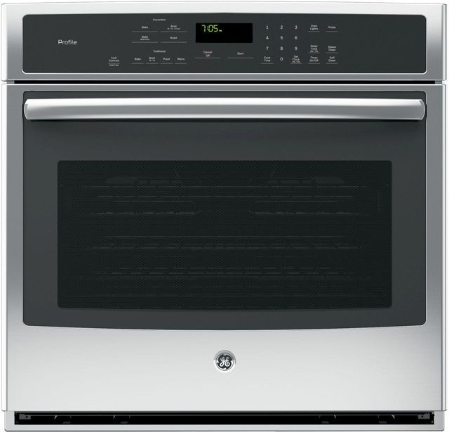 """GE® Profile™ Series 30"""" Electric Single Convection Oven Built In-Stainless Steel - Floor Model-PT7050SFSS"""