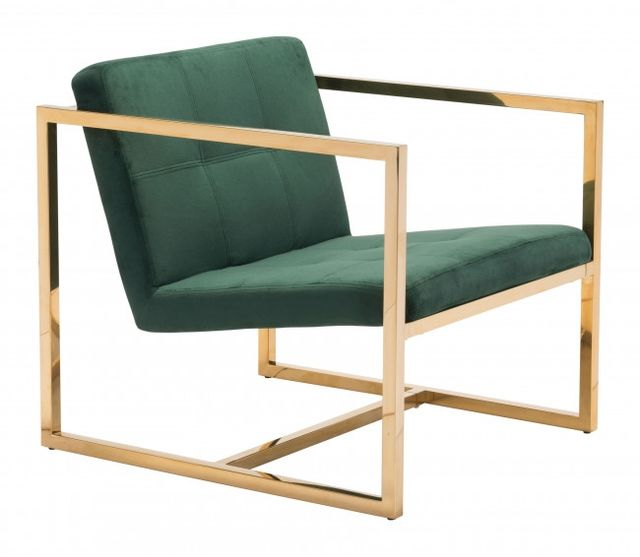 Zuo® Alt Green and Gold Arm Chair-101108