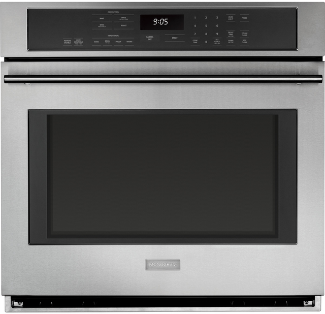 """Monogram® 30"""" Electric Convection Single Wall Oven-Stainless Steel-ZET9050SHSS"""