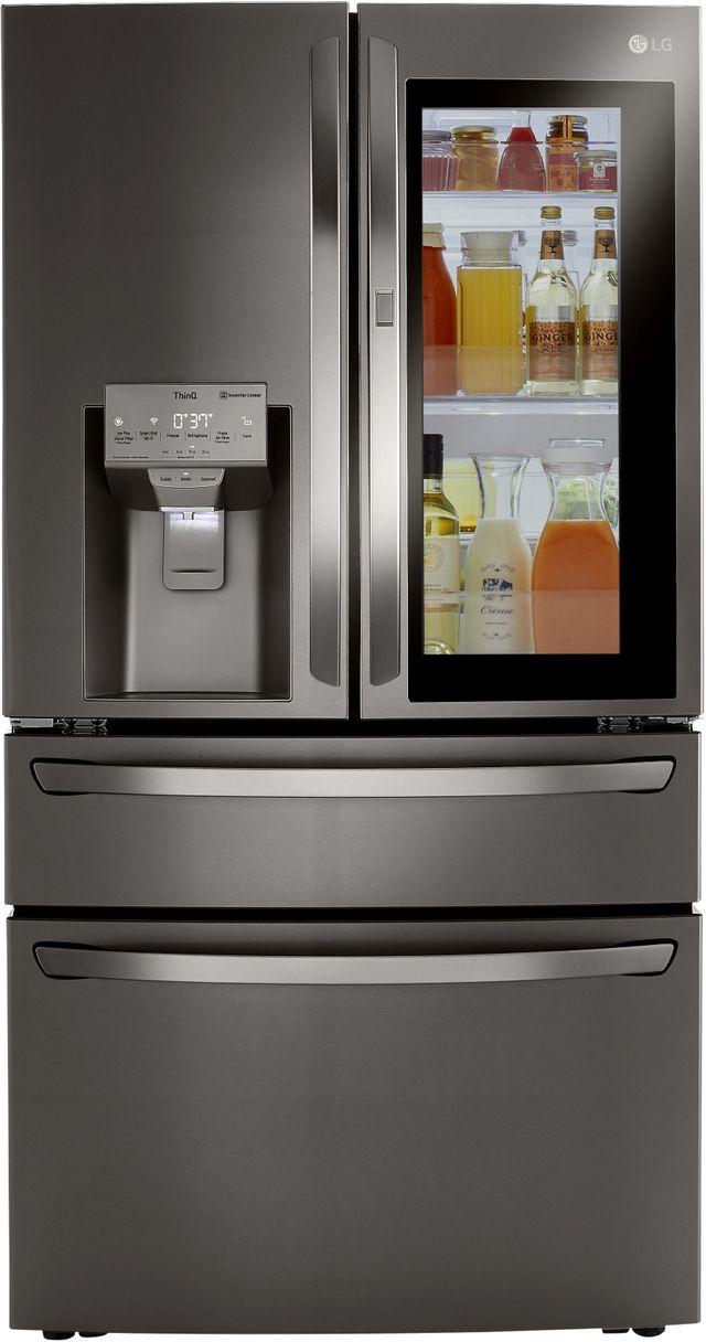 LG 29.5 Cu. Ft. PrintProof™ Black Stainless Steel Smart Wi-Fi Enabled InstaView™ Door-In-Door® French Door Refrigerator-LRMVS3006D