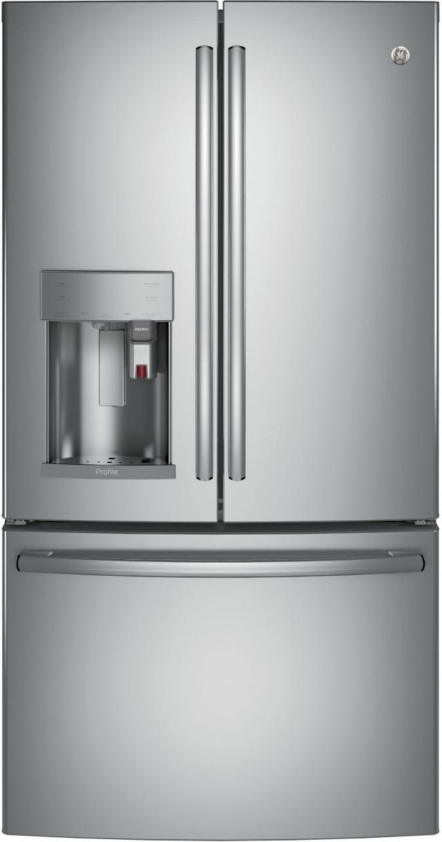 GE Profile™ 22.23 Cu. Ft. Stainless Steel Counter Depth French Door Refrigerator-PYE22PSKSS