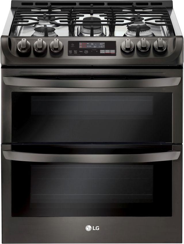 """LG 30"""" Black Stainless Steel Slide In Gas Double Oven Range-LTG4715BD"""