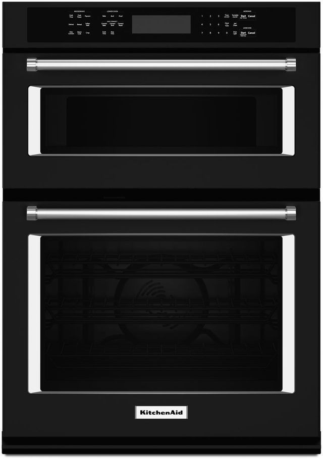 """KitchenAid® 30"""" Black Electric Oven/Microwave Combo Built In-KOCE500EBL"""