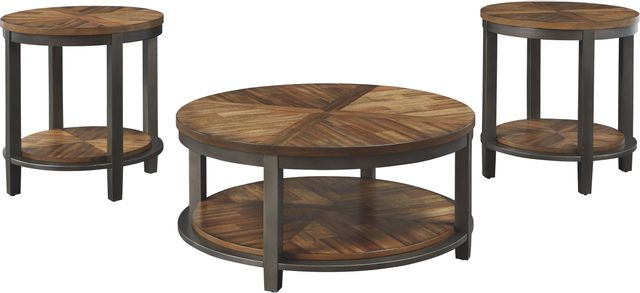 Signature Design by Ashley® Roybeck 3 Piece Light Brown/Bronze Occasional Table Set-T411-13