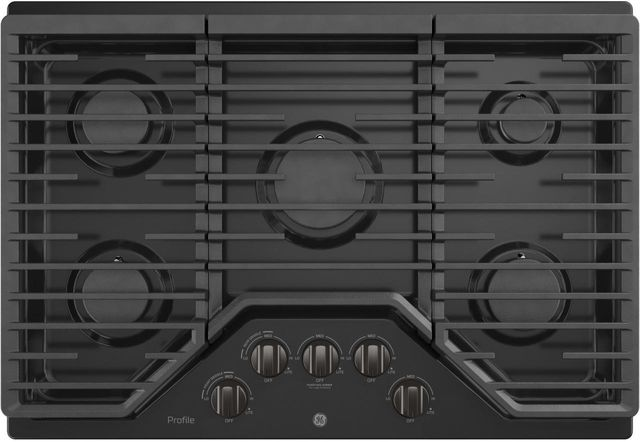 """GE Profile™ Series 30"""" Black Stainless Built In Gas Cooktop-PGP7030BMTS"""
