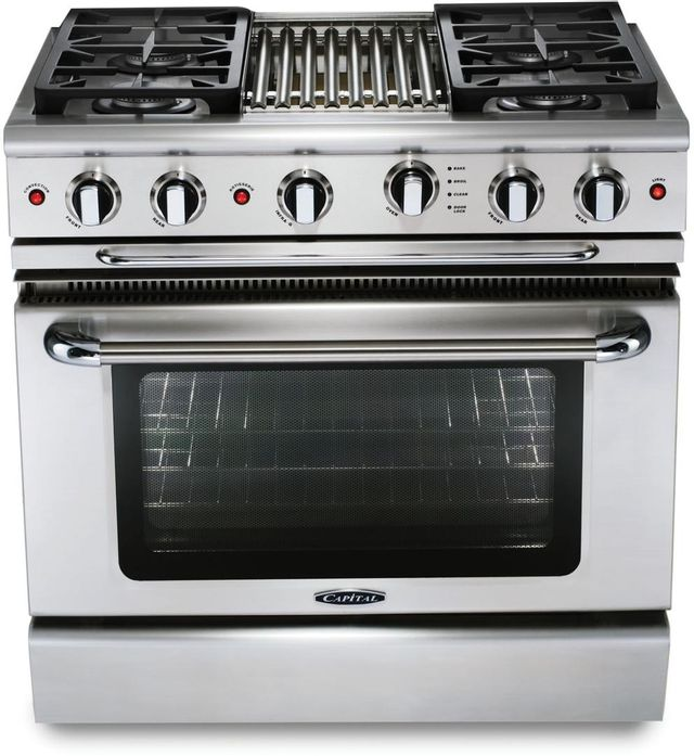 """Capital Precision™ 36"""" Stainless Steel Free Standing Gas Range-GSCR364BN"""