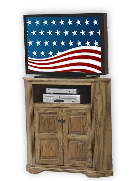 American Heartland Oak Tall Corner TV Stand-93734