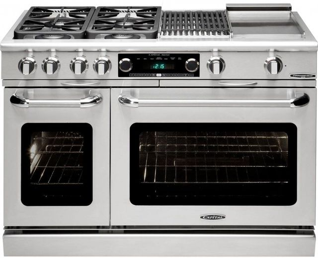 """Capital Connoisseurian 48"""" Stainless Steel Free Standing Dual Fuel Range-CSB484BGL"""