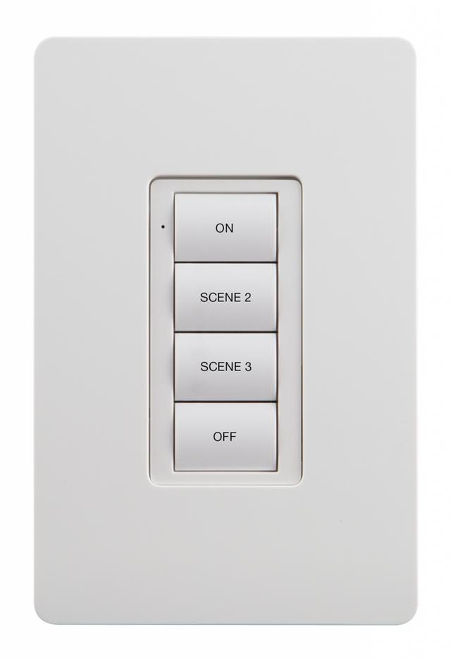 Crestron® Zum™ Battery-Powered Wireless 4 Button Keypad-White-ZUMMESH-KP10BBATT-W-S