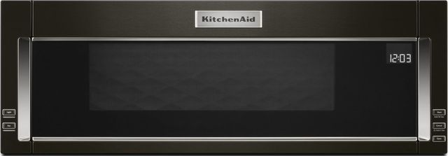 KitchenAid® 1.1 Cu. Ft. Black Stainless Steel with PrintShield™ Finish Over The Range Microwave Hood Combination-KMLS311HBS