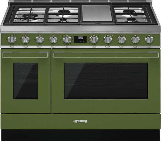 "Smeg Portofino Aesthetic 48"" Olive Green Pro Style Dual Fuel Range-CPF48UGMOG"