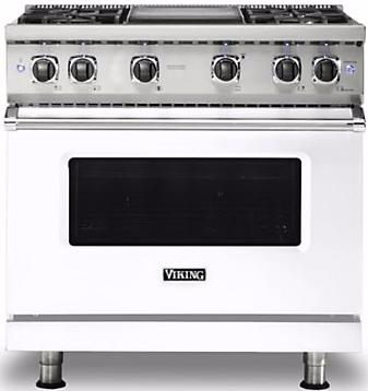 "Viking® Professional 5 Series 36"" Pro Style Gas Range-White-VGR5364GWH"
