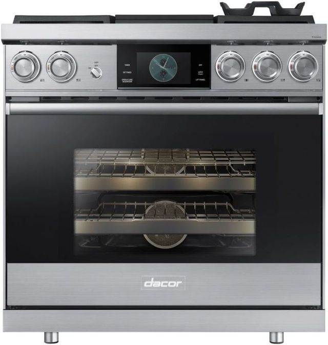"""Dacor® Contemporary 36"""" Stainless Steel Pro Dual-Fuel Steam Range-DOP36M94DLS"""