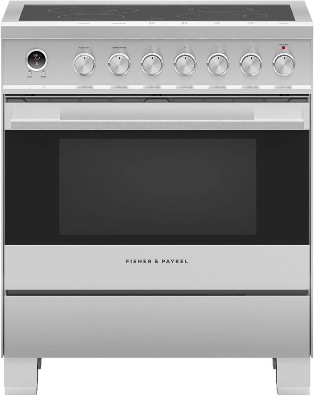 """Fisher & Paykel 30"""" Free Standing Electric Range-Brushed Stainless Steel-OR30SDE6X1"""
