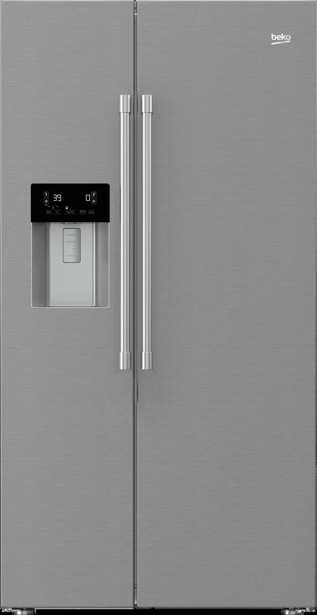Beko 19.3 Cu. Ft Fingerprint Free Stainless Steel Freestanding Side by Side Refrigerator-BFSB3622SS
