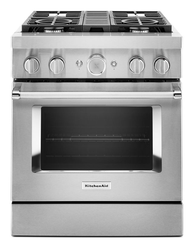 """KitchenAid® 30"""" Stainless Steel Commercial-Style Free Standing Dual Fuel Range-KFDC500JSS"""