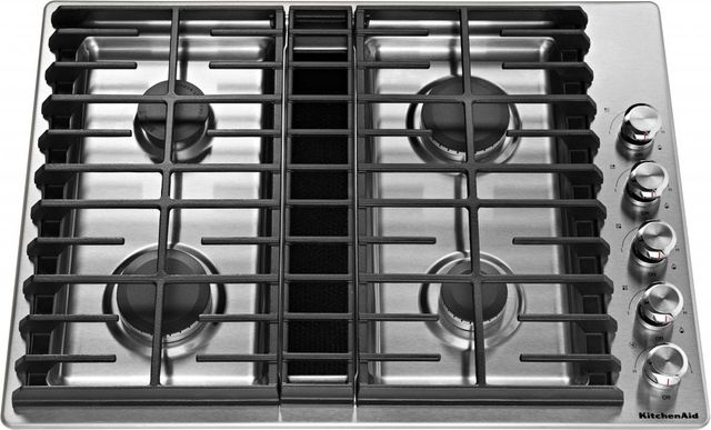 """KitchenAid® 30"""" Stainless Steel Gas Downdraft Cooktop-KCGD500GSS"""