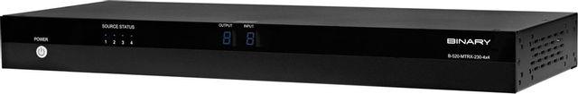 SnapAV Binary™ 520 Series Black 4x4 HDMI Matrix Switcher with HDMI and HDBaseT Outputs with POC-B-520-MTRX-230-4x4