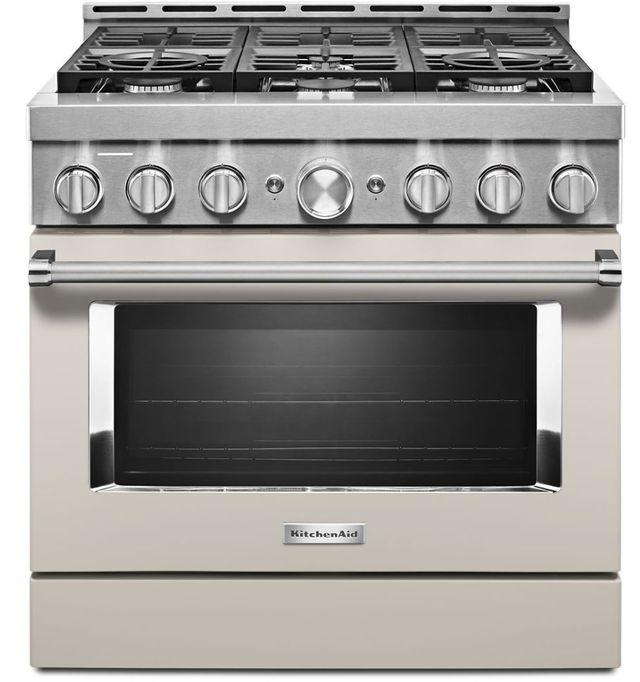 "KitchenAid® 36"" Milkshake Smart Commercial-Style Gas Range-KFGC506JMH"