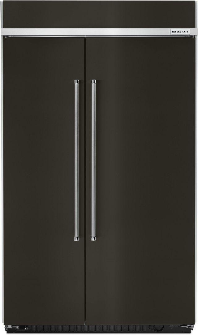 KitchenAid® 30.02 Cu. Ft. Black Stainless Steel Built In Side-By-Side Refrigerator-KBSN608EBS
