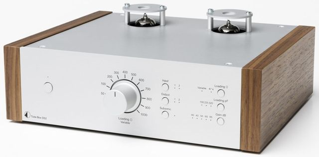 Pro-ject Tube Box DS2 Silver Preamplifier with Walnut Wooden Side Panels-Tube Box DS2-SV-WL