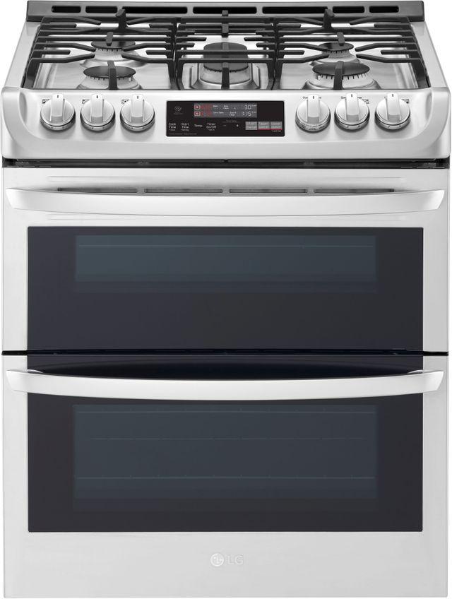 """LG 30"""" Stainless Steel Slide In Gas Double Oven Range-LTG4715ST"""