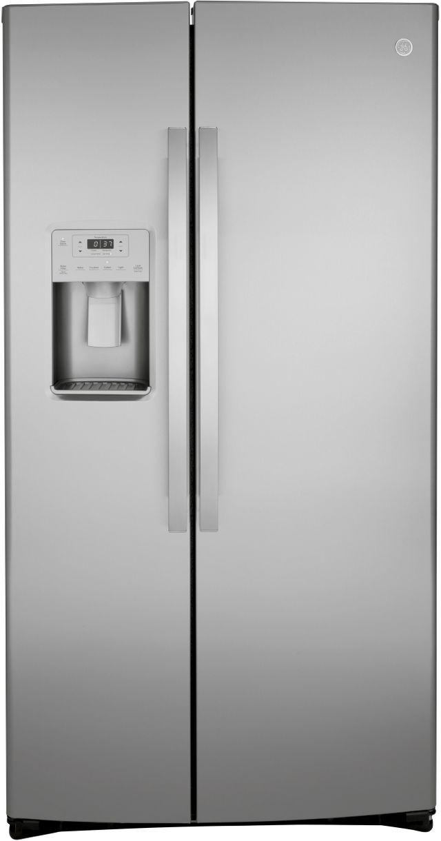 GE® 21.8 Cu. Ft. Stainless Steel Counter Depth Side-By-Side Refrigerator-GZS22IYNFS
