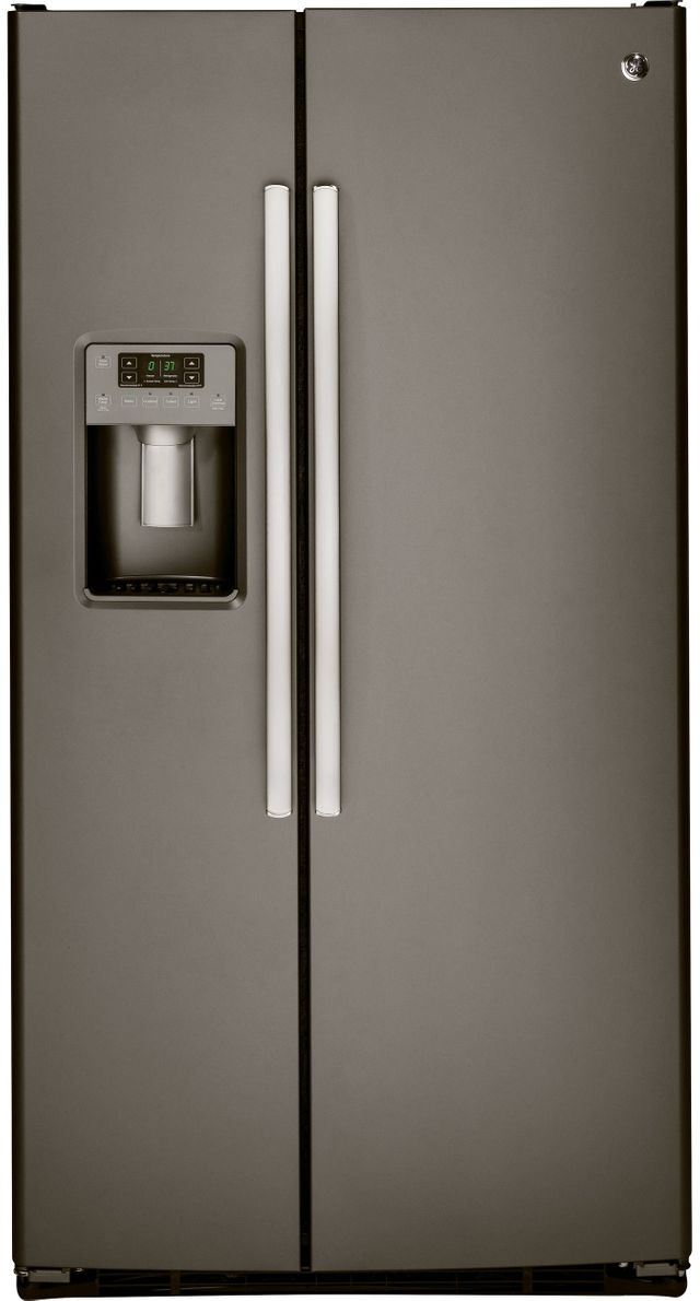 GE® 25.4 Cu. Ft. Side-By-Side Refrigerator-Slate-GSS25GMHES