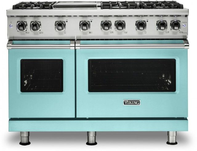 """Viking® 5 Series 48"""" Bywater Blue Pro Style Natural Gas Range with 12"""" Griddle-VGR5486GBW"""