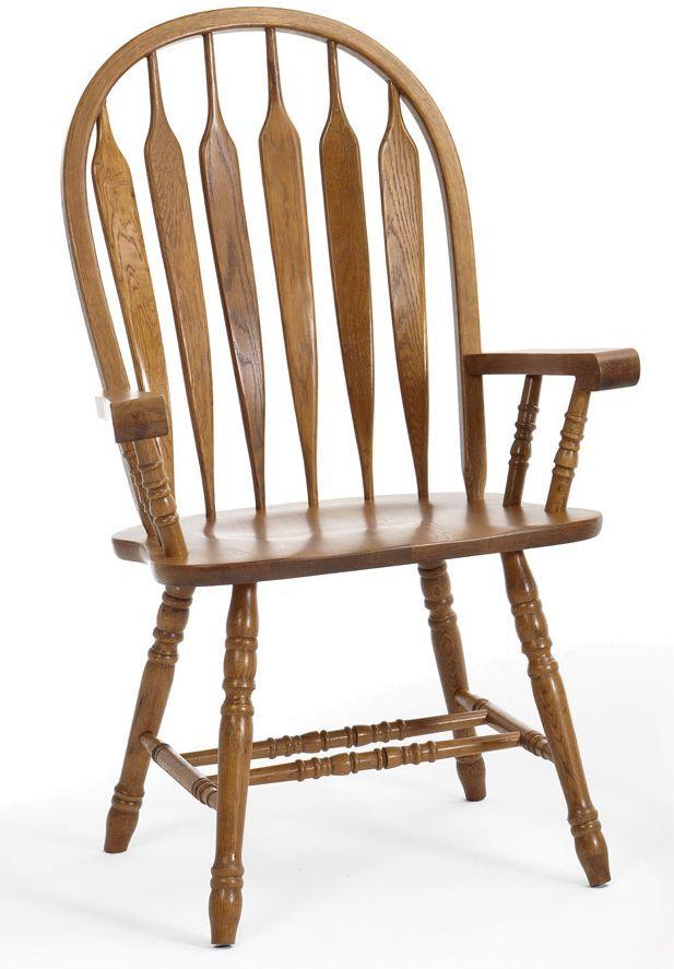 Intercon Classic Oak Chestnut Dining Room Arm Chair-CO-CH-247SHA-CNT-SU