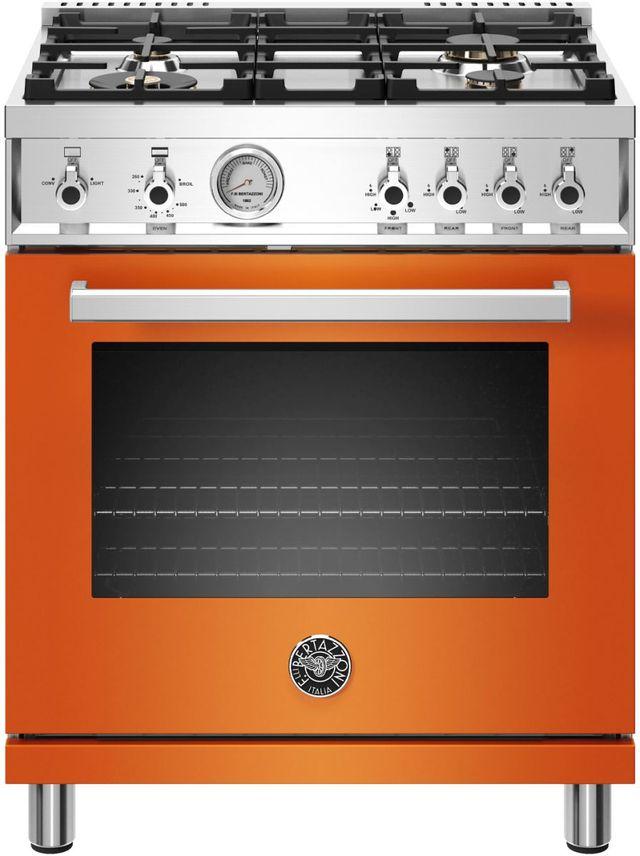 "Bertazzoni Professional Series 30"" Orange Pro Style Gas Range-PROF304GASART"