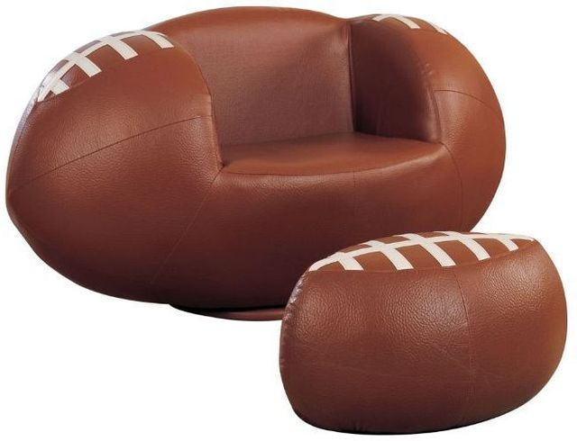 ACME Furniture All Star 2 Piece Brown & White Football Chair and Ottoman Set-05526