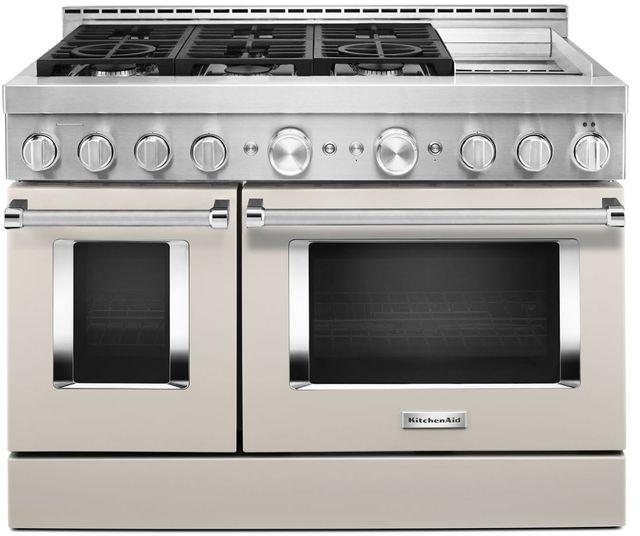 Cuisinière intelligente au gaz style commercial de 48 po KitchenAid® de 6,3 pi³, avec plaque chauffante - Lait frappé mat-KFGC558JMH