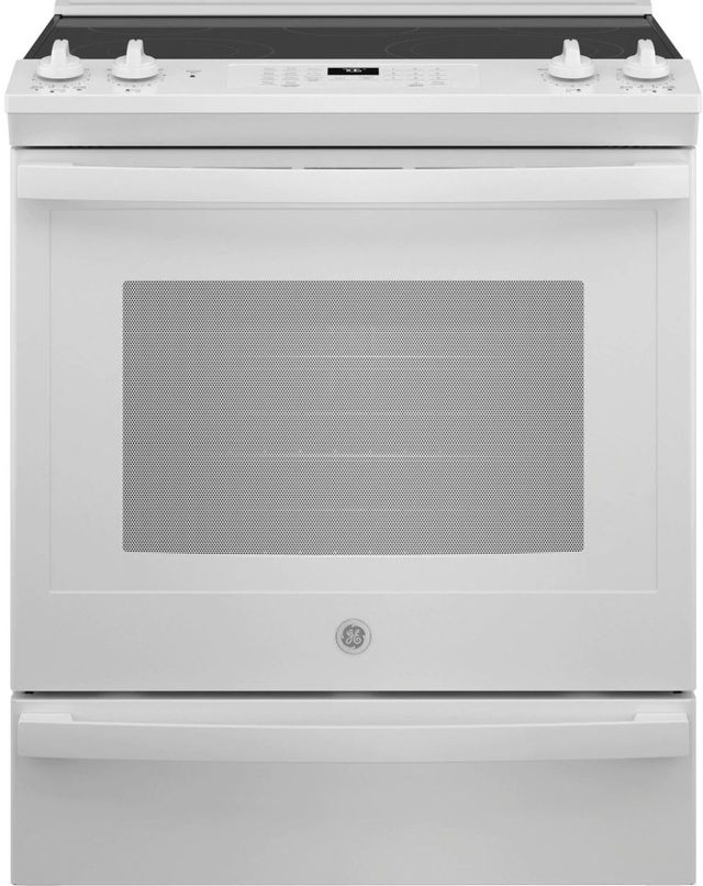 """GE® 30"""" White Slide In Electric Convection Range-JS760DPWW"""