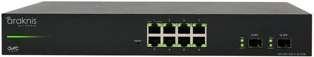 SnapAV Araknis Networks® 210 Series Black 8+2 Front Ports Websmart Gigabit Switch Partial PoE+-AN-210-SW-F-8-POE