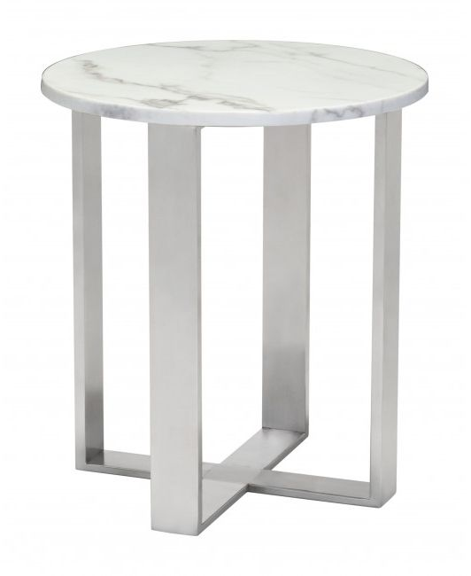 Zuo® Atlas White and Silver End Table-100711